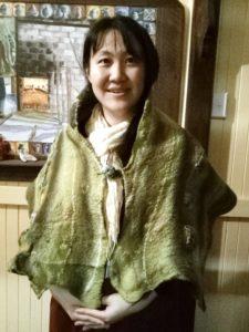 Bissett, S Z Moss cape modelled Shaoying Wang